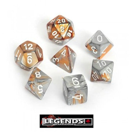 CHESSEX ROLEPLAYING DICE - Gemini Copper-Steel/White 7-Dice Set  (CHX 26424)