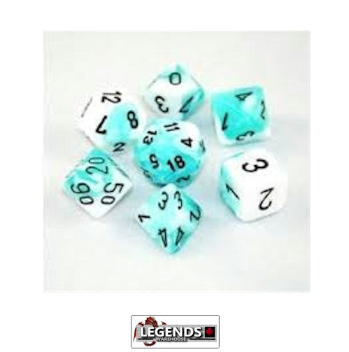 CHESSEX ROLEPLAYING DICE - Gemini White-Teal/Black 7-Dice Set  (CHX 26444)