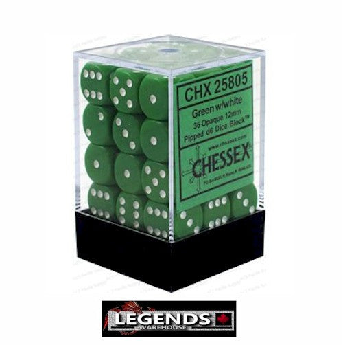 CHESSEX - D6 - 12MM X36  - Opaque: 36D6 Green / White  (CHX 25805)