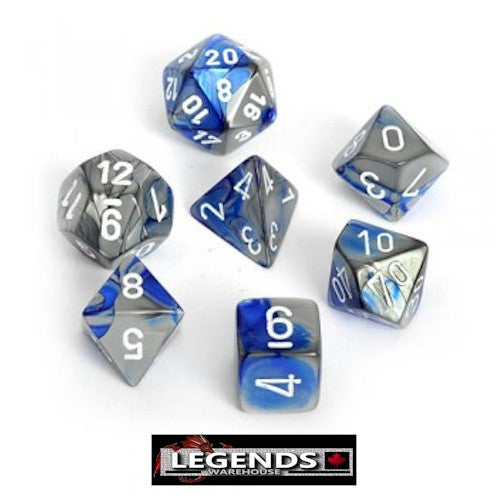 CHESSEX ROLEPLAYING DICE - Gemini Blue-Steel/White 7-Dice Set  (CHX 26423)