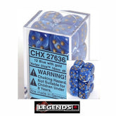 CHESSEX - D6 - 16MM X12 - Vortex: 12D6 Blue / Gold  (CHX 27636)