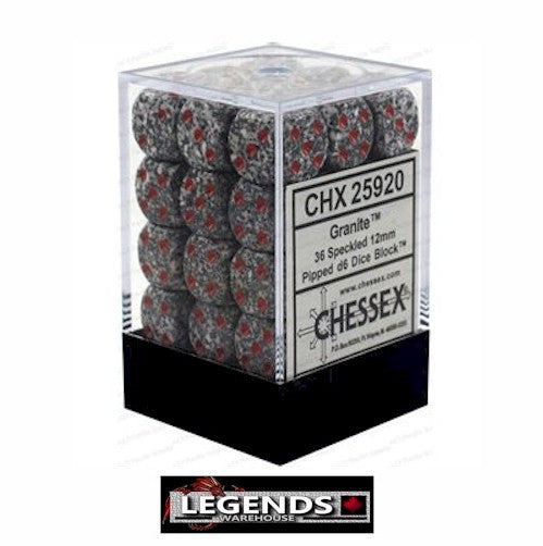 CHESSEX - D6 - 12MM X36  - Speckled: 36D6 Granite  (CHX 25920)