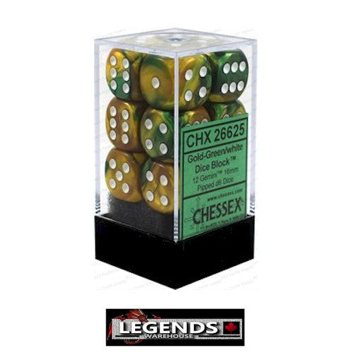 CHESSEX - D6 - 16MM X12  - Gemini: 12D6 Gold-Green / White  (CHX 26625)