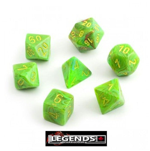 CHESSEX ROLEPLAYING DICE - Vortex Slime Yellow 7-Dice Set (CHX 27515)