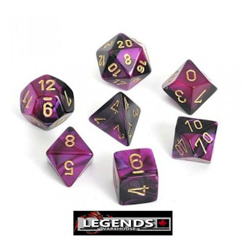 CHESSEX ROLEPLAYING DICE - Gemini Black-Purple/Gold 7-Dice Set  (CHX26440)