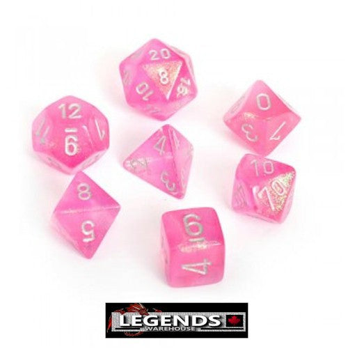 CHESSEX ROLEPLAYING DICE - Borealis Pink/Silver 7-Dice Set  (CHX27404)