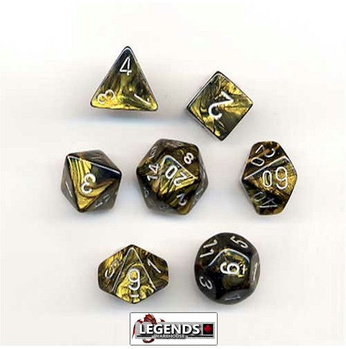 CHESSEX ROLEPLAYING DICE - Gemini Black-Gold/Silver 7-Dice Set  (CHX 26451)