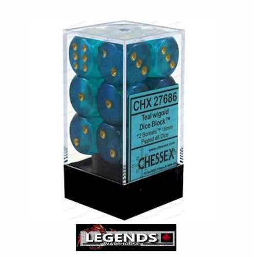 CHESSEX - D6 - 16MM X12  - Borealis: 12D6 Teal / Gold  (CHX27686)