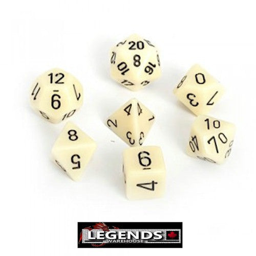 CHESSEX ROLEPLAYING DICE - Opaque White 7-Dice Set  (CHX 25401)