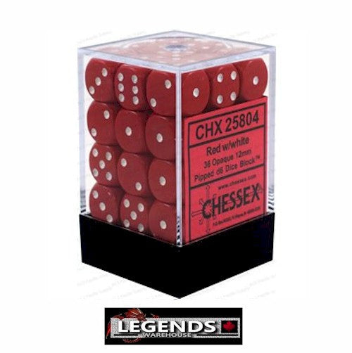 CHESSEX - D6 - 12MM X36  - Opaque: 36D6 Red / White  (CHX25804)