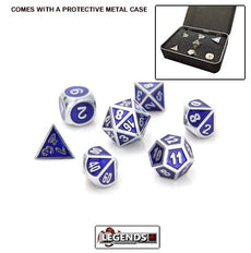 DIE HARD METAL DICE - Silver Sapphire - Gemstone Collection