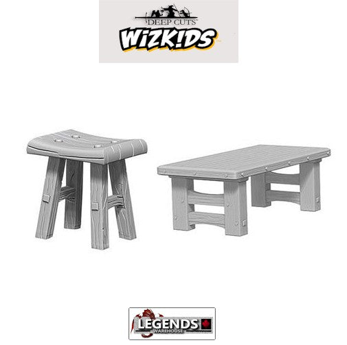 Deep Cuts Unpainted Miniatures: Wooden Table & Stools #WZK72593