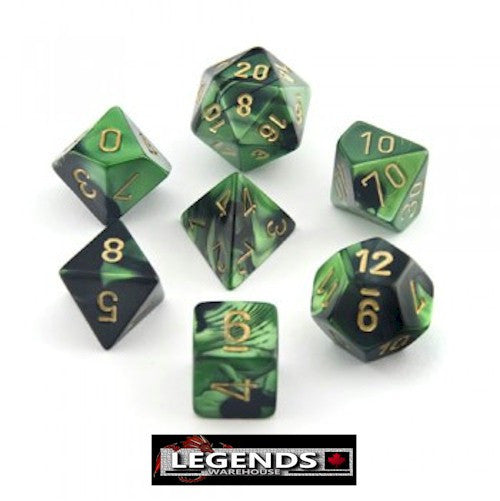 CHESSEX ROLEPLAYING DICE - Gemini Black-Green/Gold 7-Dice Set  (CHX26439)