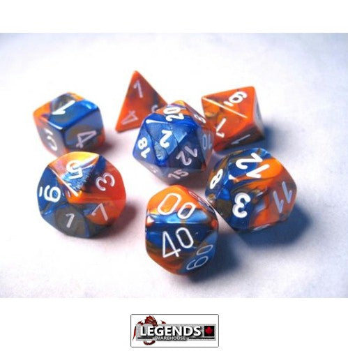 CHESSEX ROLEPLAYING DICE - Gemini Astral Blue-White/Red 7-Dice Set  (CHX 26457)