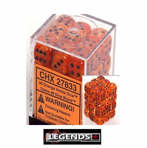 CHESSEX - D6 - 12MM X36  - Vortex: 36D6 Orange / Black  (CHX27833)
