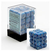 DICE - D6 - 36 Blue w/silver Mother of Pearl 12mm D6 Dice Block - CHX27856