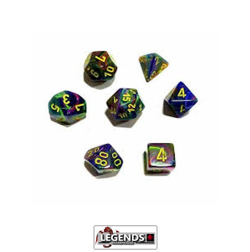 CHESSEX ROLEPLAYING DICE - Festive Rio/Yellow 7-Dice Set  (CHX 27449)