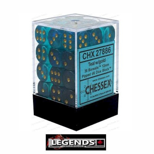 CHESSEX - D6 - 12MM X36  - Borealis: 36D6 Teal / Gold (CHX27886)
