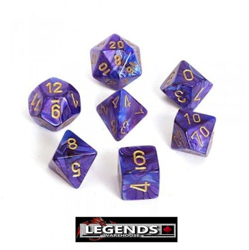 CHESSEX ROLEPLAYING DICE - Lustrous Purple/Gold 7-Dice Set  (CHX 27497)