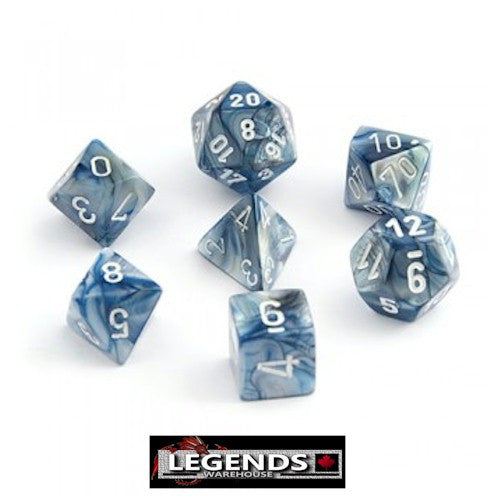 CHESSEX ROLEPLAYING DICE - Lustrous Slate/White 7-Dice Set  (CHX27490)