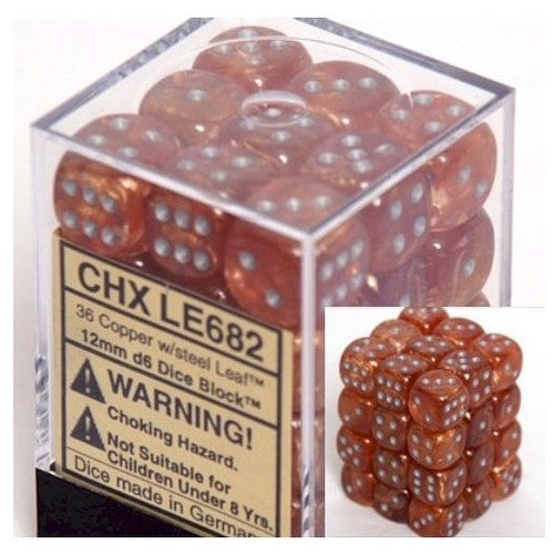 DICE - D6 - 36 Copper /steel Leaf 12mm D6 Dice Block - CHX LE682