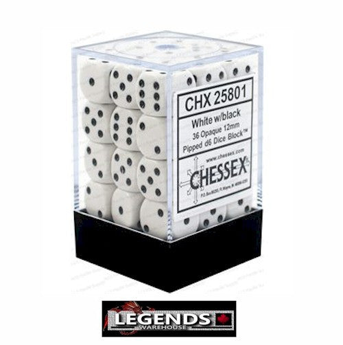 CHESSEX - D6 - 12MM X36  - Opaque: 36D6 White / Black  (CHX25801)