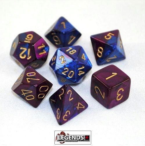 CHESSEX ROLEPLAYING DICE - Gemini Blue-Purple/Gold 7-Dice Set  (CHX 26428)