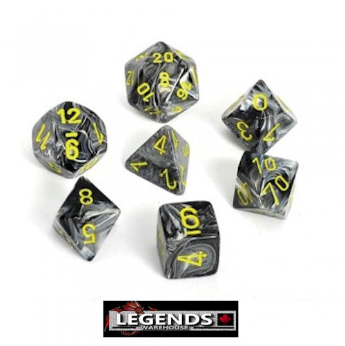 CHESSEX ROLEPLAYING DICE - Vortex Black Yellow  7 Dice Set (CHX 27438)