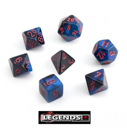 CHESSEX ROLEPLAYING DICE - Gemini Black-Starlight/Red 7-Dice Set  (CHX26458)