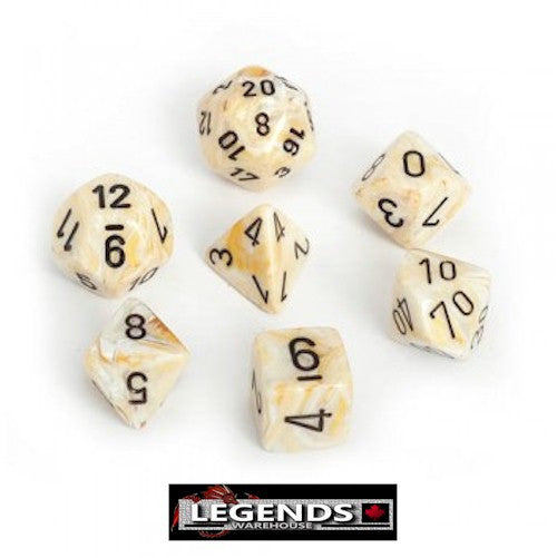 CHESSEX ROLEPLAYING DICE - Marble Ivory 7-Dice Set  (CHX27402)
