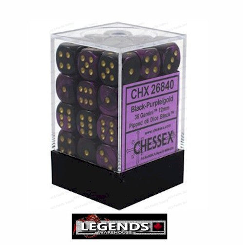 CHESSEX - D6 - 12MM X36  - Gemini: 36D6 Black-Purple/Gold (CHX 26840)