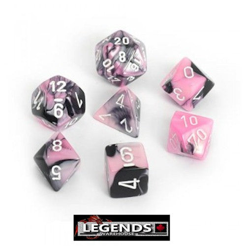 CHESSEX ROLEPLAYING DICE - Gemini Black-Pink 7-Dice Set  (CHX 26430)