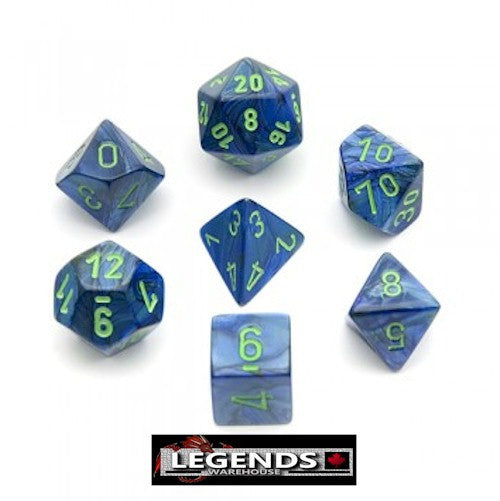 CHESSEX ROLEPLAYING DICE - Lustrous Blue with Green 7-Dice Set  (CHX 27496)