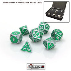 DIE HARD METAL DICE - Silver Emerald - Gemstone Collection