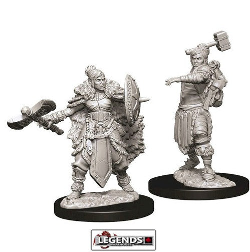 DUNGEONS & DRAGONS - UNPAINTED MINIATURES: Female Half-Orc Barbarian (2)  #WZK73703