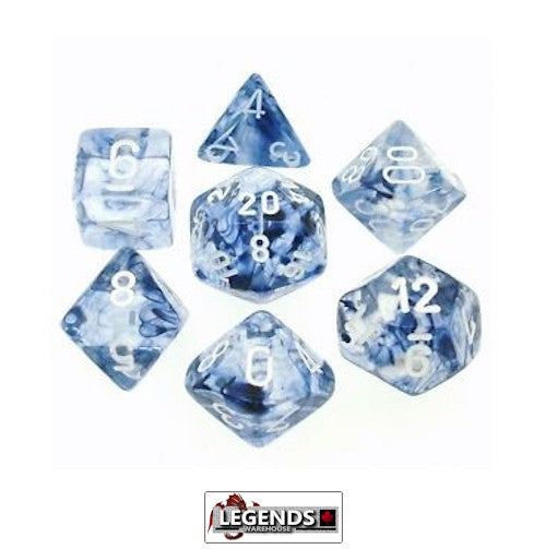 CHESSEX ROLEPLAYING DICE - Nebula Black/White 7-Dice Set  (CHX 27408)