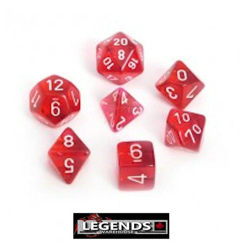 CHESSEX ROLEPLAYING DICE - Translucent Red 7-Dice Set  (CHX 23004)