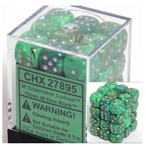 DICE - D6 - 36 Green w/silver Lustrous 12mm D6 Dice Block - CHX27895