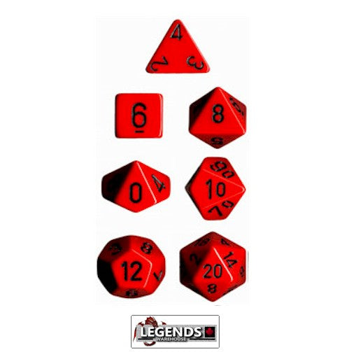 CHESSEX ROLEPLAYING DICE - Opaque Red/Black 7-Dice Set  (CHX 25414)
