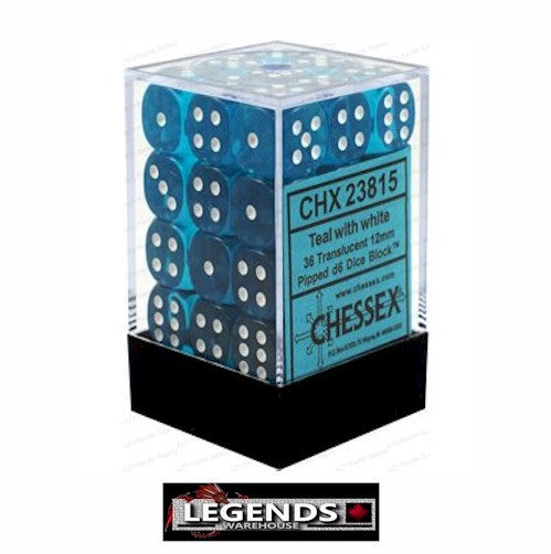 CHESSEX - D6 - 12MM X36  - Translucent: 36D6 Teal / White  (CHX 23815)