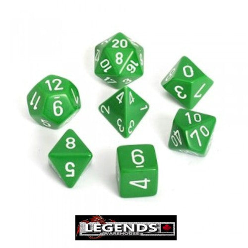 CHESSEX ROLEPLAYING DICE - Opaque Green 7-Dice Set  (CHX25405)