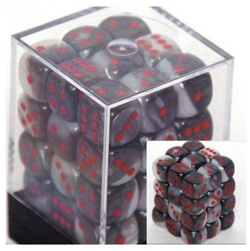 DICE - D6 - 36 Black-White w/red Gemini 12mm D6 Dice Block - CHX 26821