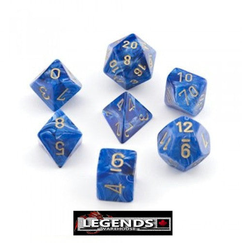 CHESSEX ROLEPLAYING DICE - Vortex Blue Gold 7-Dice Set (CHX 27436)