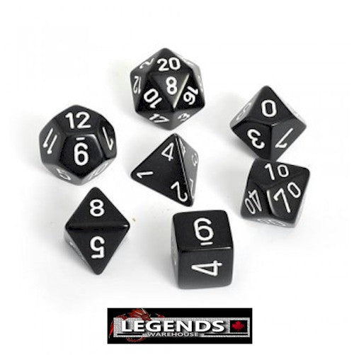 CHESSEX ROLEPLAYING DICE - Opaque Black/White 7-Dice Set  (CHX25408)