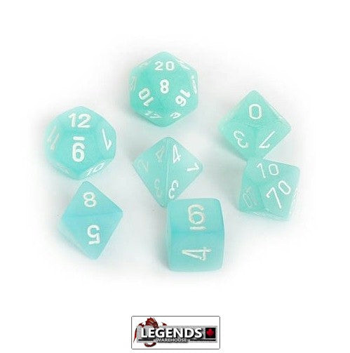CHESSEX ROLEPLAYING DICE - Frosted Teal/White 7-Dice Set  (CHX 27405)