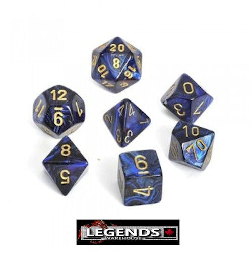 CHESSEX ROLEPLAYING DICE - Scarab Royal Blue 7-Dice Set  (CHX 27427)