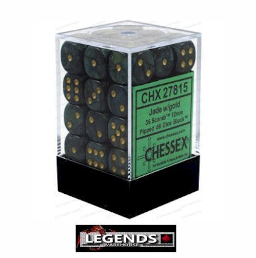 CHESSEX - D6 - 12MM X36  - Scarab: 36D6 Jade / Gold  (CHX 27815)