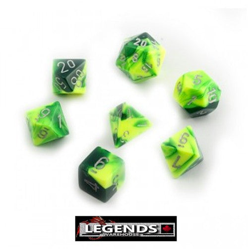 CHESSEX ROLEPLAYING DICE - Gemini Green-Yellow 7-Dice Set  (CHX 26454)