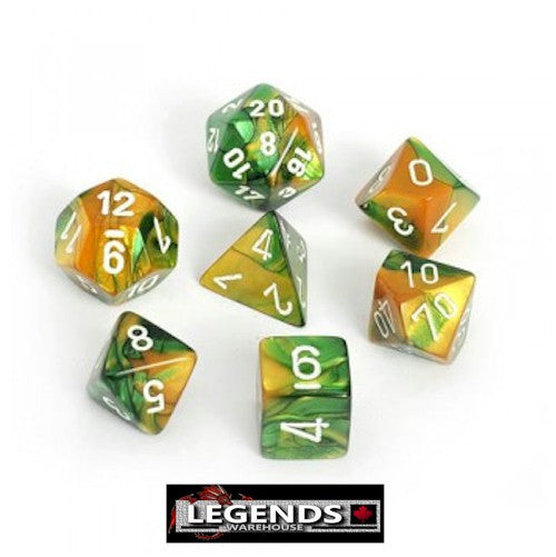 CHESSEX ROLEPLAYING DICE - Gemini Gold-Green 7-Dice Set  (CHX 26425)