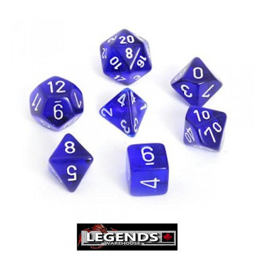 CHESSEX ROLEPLAYING DICE - Translucent Blue 7-Dice Set  (CHX 23006)